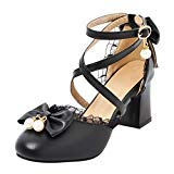 COOLULU Womens Mary Janes Pumps Mid Block Heel Court Shoes with Bow Pearls Ankle Strap Buckle Lolita Shoes (7.5 B(M) US, Black)