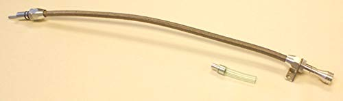 PRC GM Turbo 350 400 Stainless Braided Flexible Transmission Dipstick Firewall Mount ()