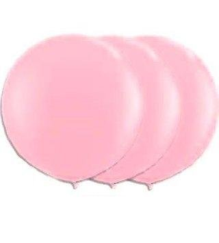36 Inch Giant Round Shimmering Pink Latex Balloons by TUFTEX (Premium Helium Quality) Pkg/3