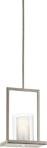 Kichler Lighting 42549CLP Triad 1-Light  Pendant, Classic Pewter Finish with Clear Outer Glass and White Vetro Mica Inside Shade - Vetro Glass