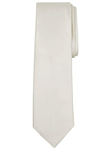 - Jacob Alexander Solid Color Men's Regular Tie - Ivory Cream