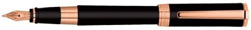 Aurora Tu Rose Gold Black Resin/Pink Gold Trim Fine Point Fountain Pen - AU-T11-PNF