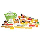 100 Pcs Play Food Set in Basket for Pretend Play