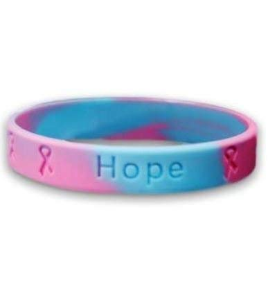 Fundraising 5 Infant Loss Awareness Pink & bluee Silicone Bracelets  Adult Size Show Your Support