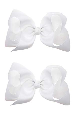Hair Clips Boutique Hair Bows Alligator Clip for Women Girl Hairpin 6 Inch TSFJ02 (2pcs White)]()
