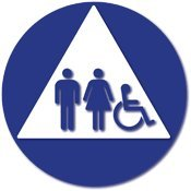 ADA Compliant - Title 24 Compliant Unisex Restroom Door Sign with Wheelchair, Male and Female Pictograms on White Triangle - 12x12