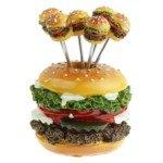 Creative Stainless Steel Hamburger Shaped Embellished Fruit Forks(6-Fork Set)