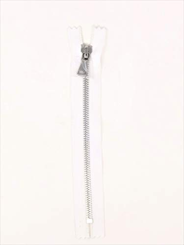 - White Glossy Pocket Zipper Silver Teeth 5MM in 7 inches Closed Non Separating