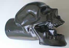 Cast Exhaust Tip - Black Matte Powder Coated Skull Exhaust Tip - 4