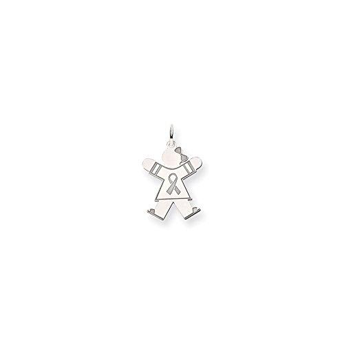 14k White Gold Awareness Girl With Bow Joy Charm