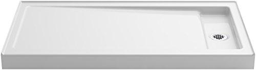 KOHLER K-9164-0 Bellwether 60-Inch x 32-Inch Single-Threshold Shower Base with Right Center Drain, White Cast Iron Shower Pan