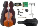 Merano MC150-3 1/4 Size Student Cello Hard Case, Bag and Bow with 2 Sets of Strings and Cello Stand by Merano