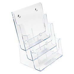 Wall Holders Mount Literature (Deflecto Multi-Compartment Docuholder, Countertop or Wall Mount, 3-Tiered Literature Holder, Large Size, Clear, 9-1/2
