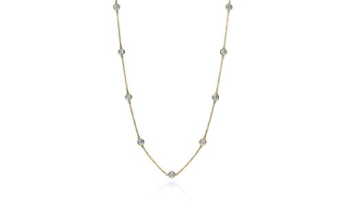 White 18' Neck - NYC Sterling Women Gold Plated Sterling Silver 3MM Round Cubic Zirconia Station Necklace 16