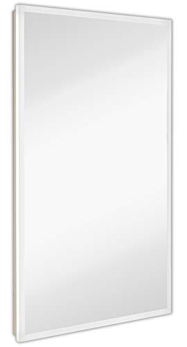 Global Frameless Mirror with Lights | Lighted Edge Backlit LED Wall Mirror | Contemporary Glass Illuminated Frame | Hanging Vertical or Horizontal Rectangle (24 x 36)