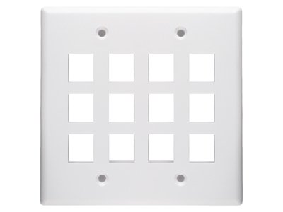 12 Port Keystone Faceplate - Dual Gang - White (Faceplates Dual)