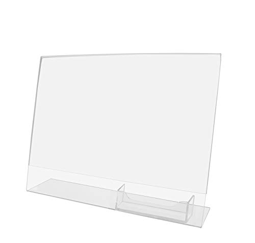 Marketing Holders Horizontal Sign Holder Counter Printed Material with Business Card Pocket Slant Back Combo 11