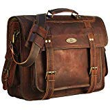 18 Inch Leather Messenger Bag briefcases for Men, Genuine Leather Laptop Bags Shoulder Crossbody Satchel for Women by Handmade World (Large)