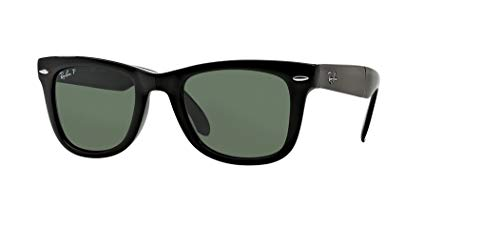 Ray-Ban RB4105 FOLDING WAYFARER 601/58 54M Black/Green Crystal Polarized Sunglasses For Men For Women