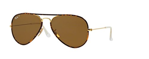 New Authentic Ray-Ban RB 3025JM 001/57 58mm Aviator Havana/Brown - Full Aviator Color Ban Brown Ray