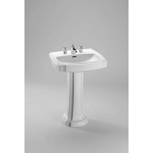 - Toto LPT972.8#11 24-3/8-Inch by 19-7/8-Inch Guinevere Pedestal Lavatory, Colonial White