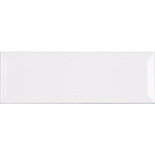 White Ceramic Beveled Subway Tile 4