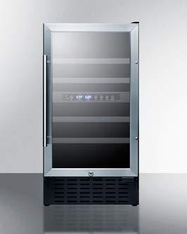 Summit SWC182Z 18 Inch Wide 28 Bottle Capacity Built-In Wine Cooler with Door Lo, Glass/Black (Summit Wine Fridge)