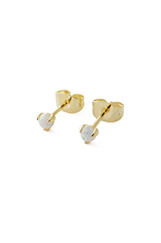 (HONEYCAT Tiny Opal Orb Solitaire Studs in 24k Gold Plated | Minimalist, Delicate)