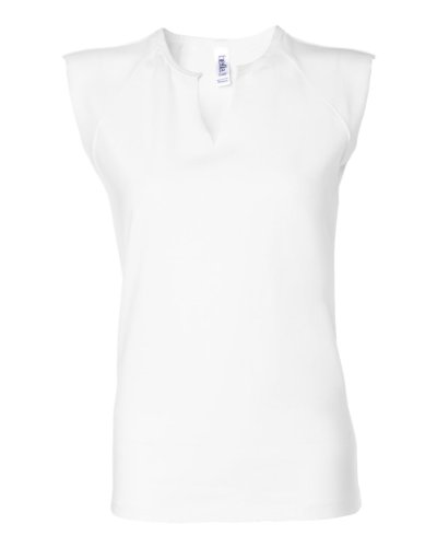 Boatneck Raglan Tee - Bella Women's Cotton/Spandex Split-V Raglan T-Shirt B820, X-Large, White