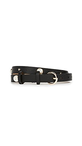 Kate Spade New York Women's Smooth Leather Belt with Imitation Pearl Studs, Black, - Shopbop Designers