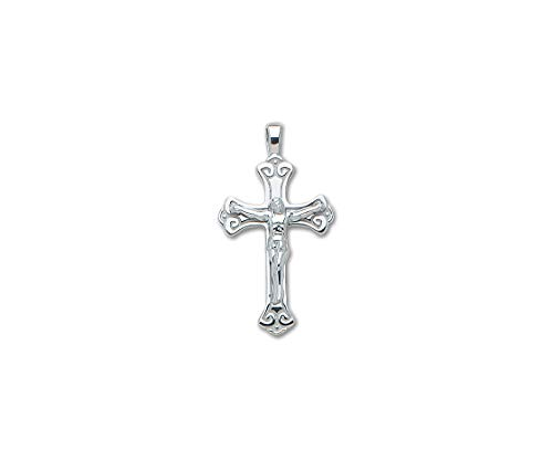 PicturesOnGold.com Solid 14k White Gold Large Scroll Crucifix Cross - 3/4 Inch x 1 1/4 ()