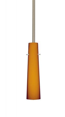 - Besa Lighting 1TT-567480-SN 1X50W E12 Camino Pendant with Amber Matte Glass, Satin Nickel Finish