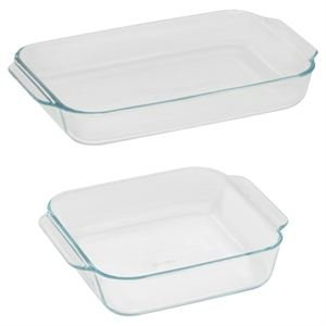 Pyrex Basics Clear Glass Baking Dishes 3 Quart Oblong and 2 Quart Square SYNCHKG106070