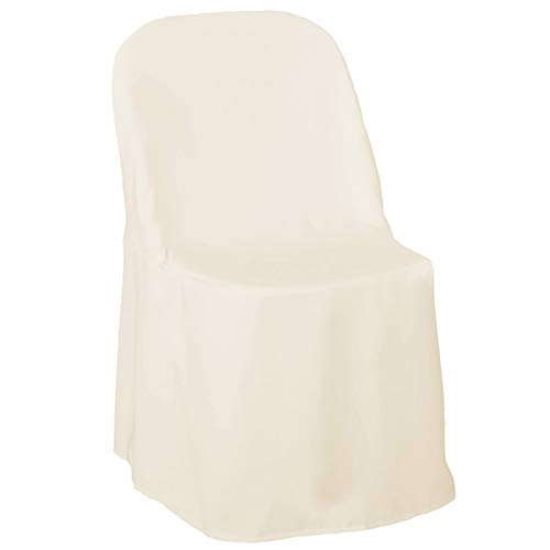 Lann's Linens - 10 Elegant Wedding/Party Folding Chair Covers - Polyester Cloth - Ivory (Outside Walmart Chairs)
