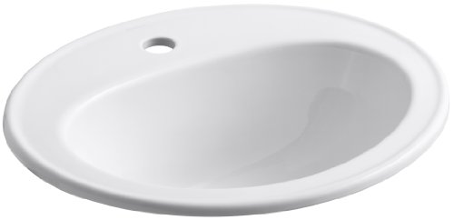 KOHLER K-2196-1-0 Pennington Self-Rimming Bathroom Sink, White ()