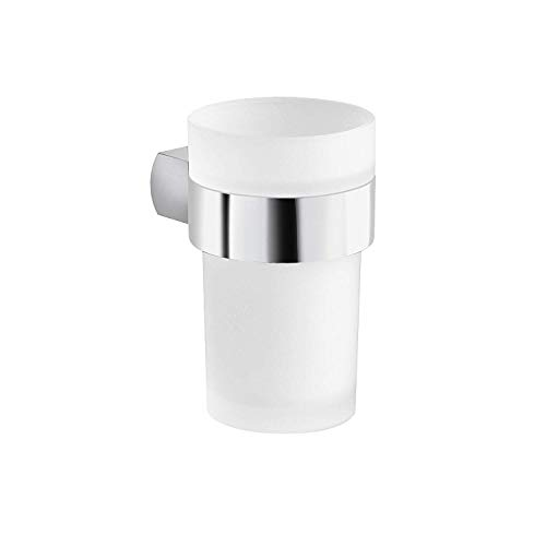 Maykke Noe Valley Wall Mounted Bathroom Toothbrush Toothpaste Tumbler and Holder Set Frosted Glass Rinse Cup, Modern Space-Saving Bath Room Vanity Lavatory Accessory Polished Chrome DLA2000401