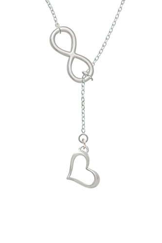 Open Heart Lariat Necklace - Silvertone Slanted Open Heart - Infinity Lariat Necklace