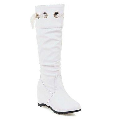Heart&M Damen Schuhe Kunstleder PU Herbst Winter Komfort Neuheit Modische Stiefel Stiefel Flacher Absatz Runde Zehe Kniehohe Stiefel Band-Bindung white