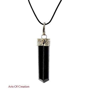 Arts Of Creation Raw Black Tourmaline Crystal Healing Pendant Necklace –Protection Negative Energy Cleanser Natural Stress Aid Soothe Mind Emotions - Authentic Stone