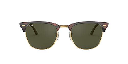 Ray-Ban RB3016 Clubmaster Square Sunglasses, Mock Tortoise Gold/Green, 51 ()