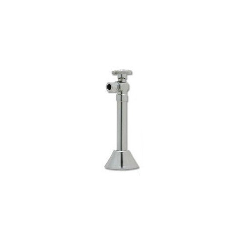 1/2 inch Sweat x 3/8 inch OD Comp Angle Stop with 5 inch Chrome Ext. with Bell Escutcheon (Lead Free)
