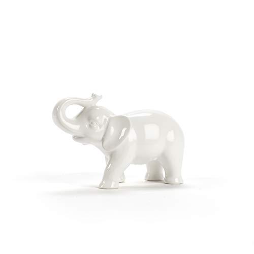 Abbott Collection Ceramic Elephant Figurine, White - Figurine White Elephant