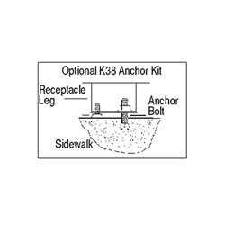 Rubbermaid Commercial Products FGKR38 Anchor Kit for Aspen and Dimension 500 Series Outdoor Trash Cans