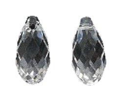 Swarovski 6010 Briolette Drop Beads, Transparent, Crystal, 6.5 by 13mm, 2 Per Pack