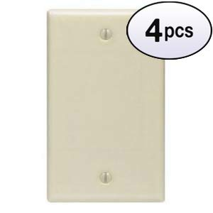 GOWOS (4 Pack) Blank Wall Plate Ivory Smooth - Duplex Acenti Receptacle