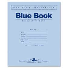 Examination Book, Wide Rule, 16 Pages, 8-1/2''x7'', Blue, Sold as 1 Each