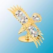 24K Gold Plated Bald Eagle Free Standing - Clear - Swarovski Crystal