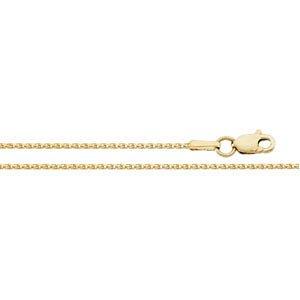 14K jaune 1mm Diamant coupe blé chaîne 45,7cm