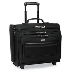* Rolling Laptop Case/Overnighter, Ballistic Poly, 16-1/2 x 6.5 x 13, Bl