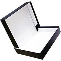 (Prat Century Storage Box, One-Piece Clamshell Construction with Fabric Cover, Lined with Acid-Free White Paper, 10 X 8 X 2 inches, Black (1085) )